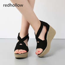 Summer Shoes Sandals Women 2019 Peep-Toe Fashion Wedges Shoes Sandals Women Shoes Sandalias Mujer High Quality Leather Shoes shofoo shoes sweet fashion free shipping multicolored leather 15 cm wedges sandals women s sandals size 34 45