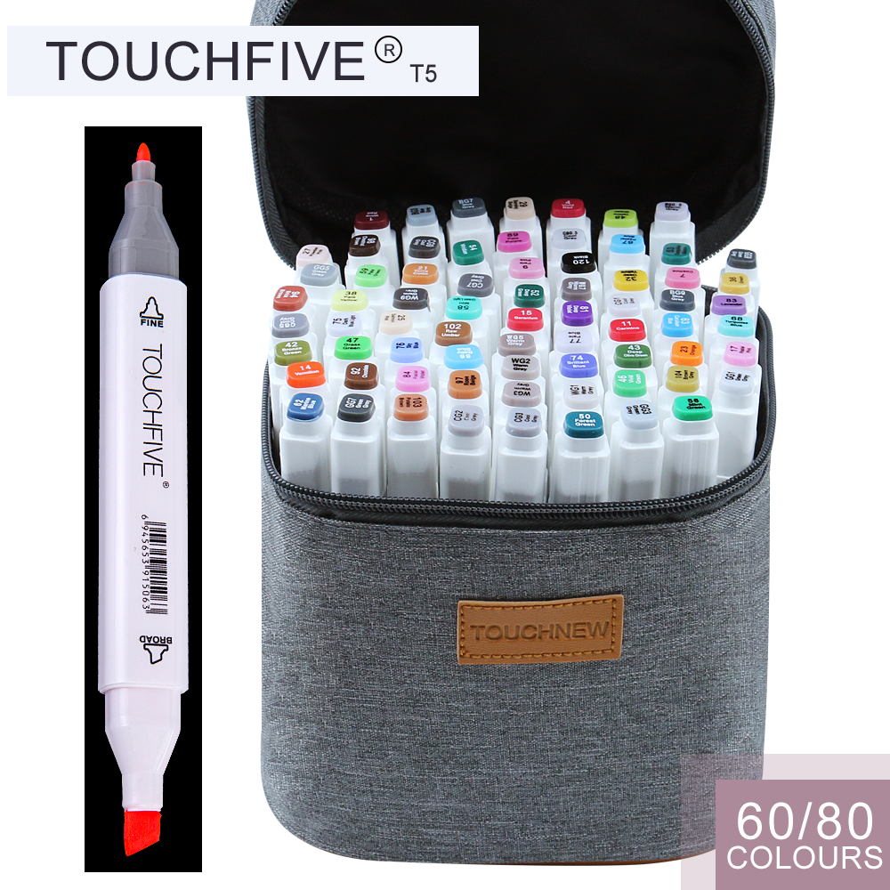 TOUCHFIVE T5S 60/80 colors dual-tip white barrel sketch markers grey bag for drawing painting design manga art supplies touchnew 60 colors artist dual head sketch markers for manga marker school drawing marker pen design supplies 5type