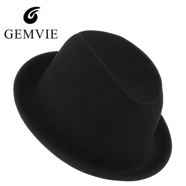 fbf29869bf89d 2018 Vintage Solid Wool Fedora for Men Black Jazz Cap Male Church Caps  Winter Fedora Hat Curved Brim Top Hat
