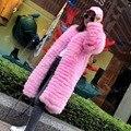 Real abrigos de piel de invierno de las mujeres natural de piel de zorro chaqueta de color rosa diseño de la manera larga chaqueta de piel de alta calidad del envío del Nuevo Phoenix1017B
