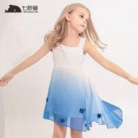Girl Clothes Summer 2018 Beach Dress Chiffon Gradiente Blue Princess Dress Children Clothing Kids Clothes Party