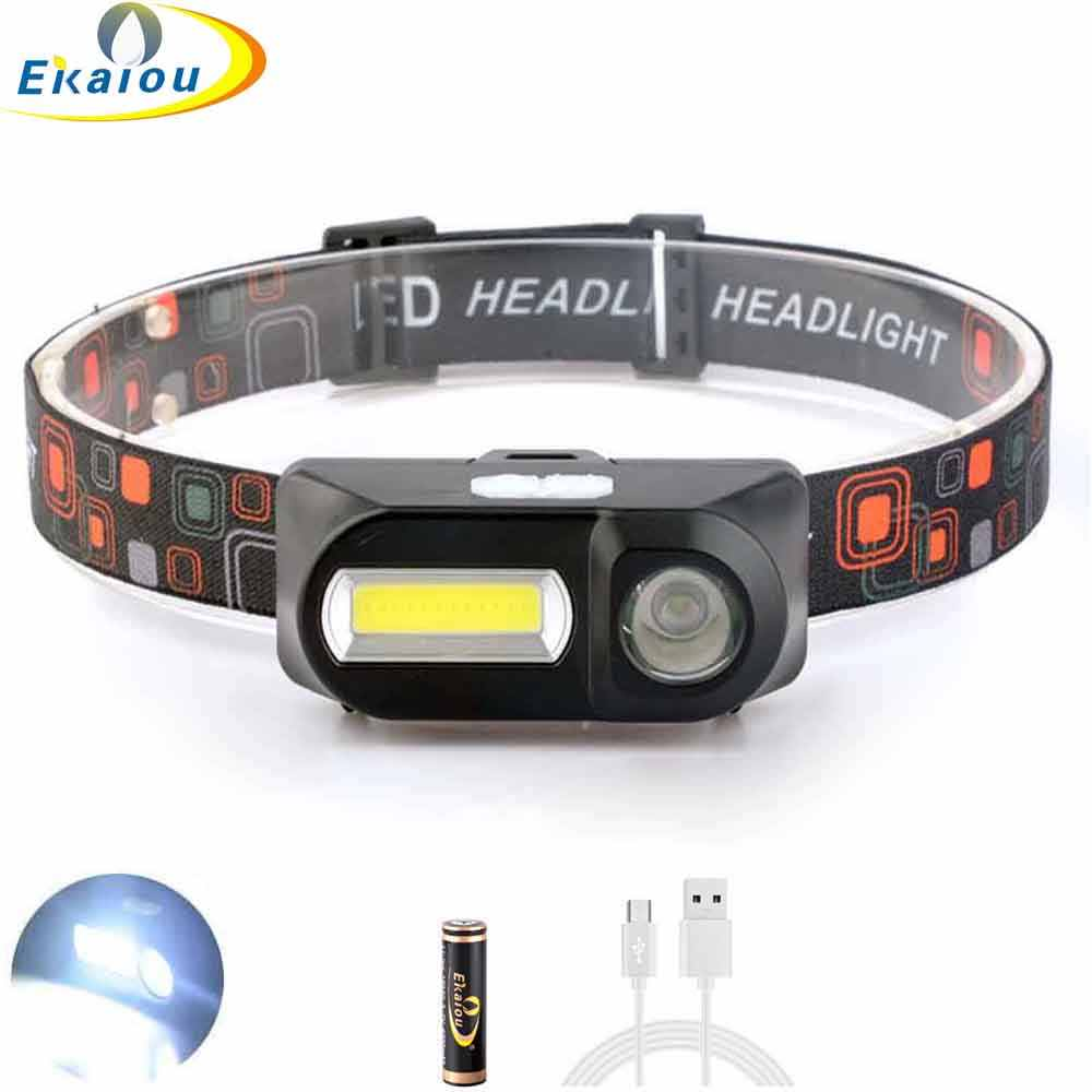 USB rechargeable headlamp 2LED COB XPE T6 head light Camping Torch 18650 battery