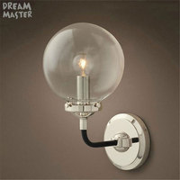 Industrial Wall Sconce, Loft Retro Wall Lamp Vintage Fixtures With globe Glass Lampshade Lamparas De Pared Arandelas lighting