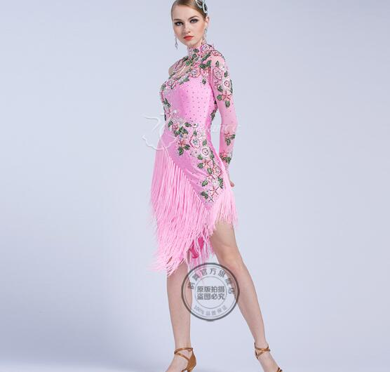 Latin Dance Dress For Women Tassel Tassel Latin Dance Dress Girls Latin Dance Dress Latin Dance Clothes Pink Color