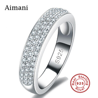 Luxury Jewelry 100 Pure Silver Rings CZ Diamond Full Paved Engagement Rings 925 Sterling Silver Wedding