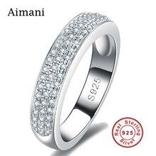 Bijoux de luxe 100% Pur Argent Anneaux CZ Diamant Plein de Fiançailles Pavée Anneaux 925 En Argent Sterling Anneaux De Mariage pour les Femmes JZR073