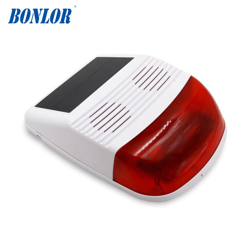 433 MHz outdoor wireless strobe siren solar powered with red flash light 110db for pstn wifi gsm alarm system home security