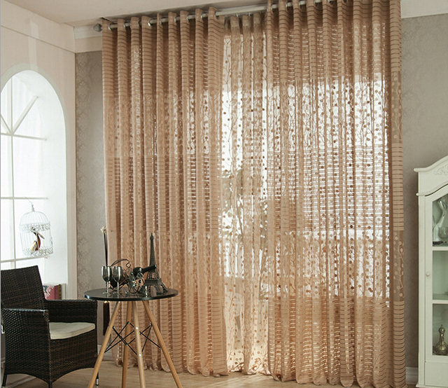 sheer cafe curtains for living room fabric chairs elegant cortinas ready made light brown curtain