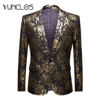 YUNCLOS 2019 Gold Rose Men Blazer Slim Fit Flower Pattern Stamping Suit Jacket High Quality Casual Male Blazer Prom Blazers