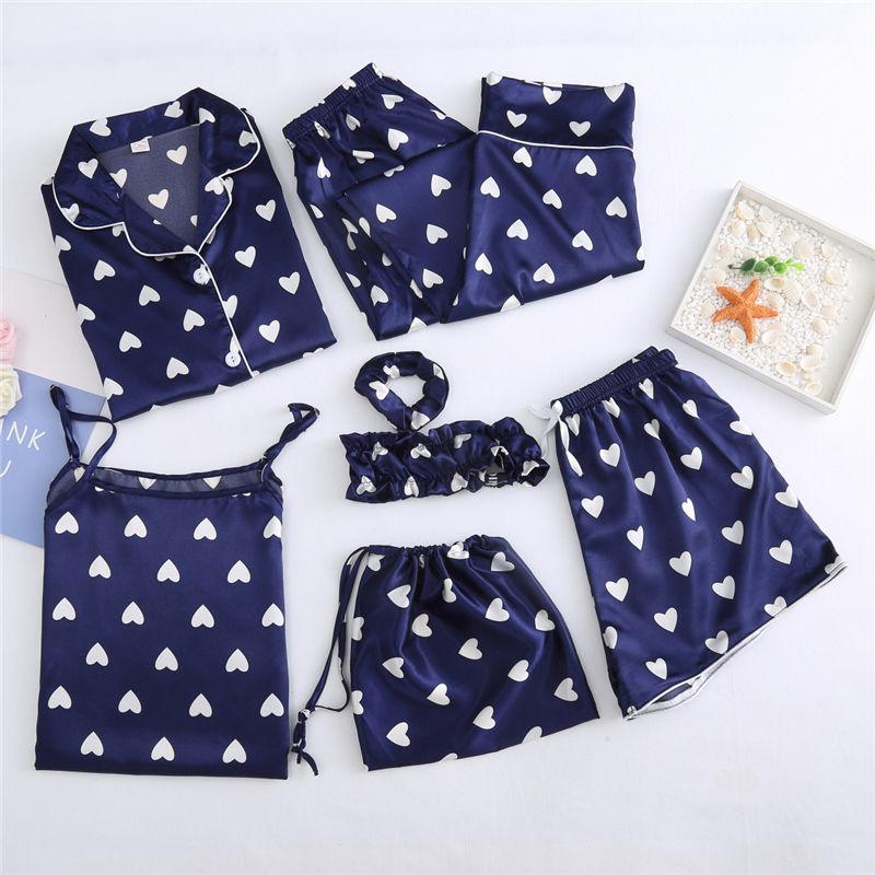 Autumn Spring 7 Pieces Set Silk Elegant Women Pajamas Print Shorts Long Sleeve Top Elastic Waist Pants Full Lounge Sleepwear