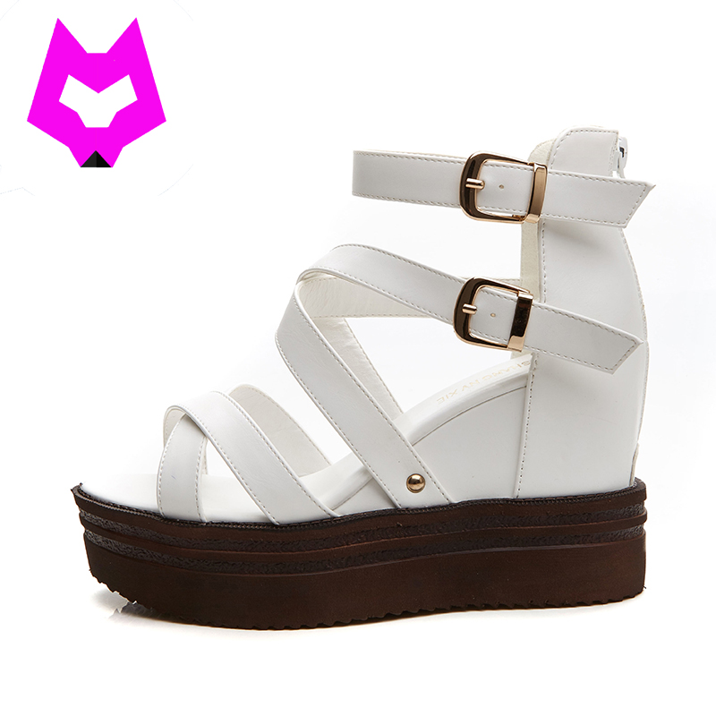 Wolf Who new Women Sandals Wedges High Heels Shoes Gladiator ankle buckle  Shoes Summer Slippers Zapatos Mujer Sandalias 2017 summer new rivet wedges sandals creepers women high heel platform casual shoes silver women gladiator sandals zapatos mujer