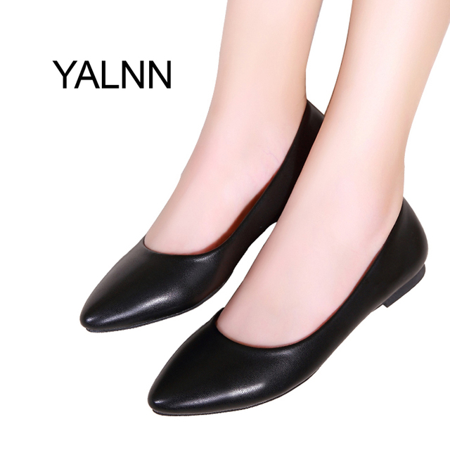2b44ce7c51881 YALNN New Women Flats Shoes Leather Platform 1cm Heels Shoe White Women  Pointed Toe Leather Girl Shoes