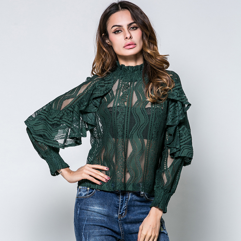 Popular Green Lace Blouse-Buy Cheap Green Lace Blouse lots ...