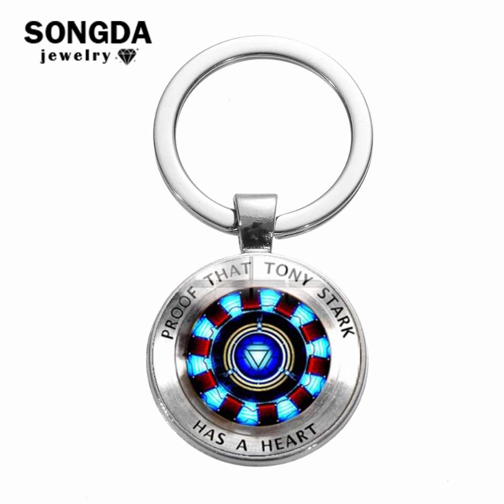 SONGDA Iron Man Tony Stark พวงกุญแจ Marvel Avengers 4 Endgame Quantum Realm Series Key Ring Key Chain รถผู้ถือ porte Clef