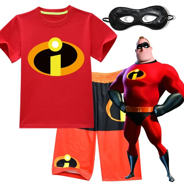 cca83b61e The Incredibles 2 Bob Parr Mr Incredible Costume Kids Shirt Shorts with  Eyemask Outfit Casual Wear Halloween Performance Clothes