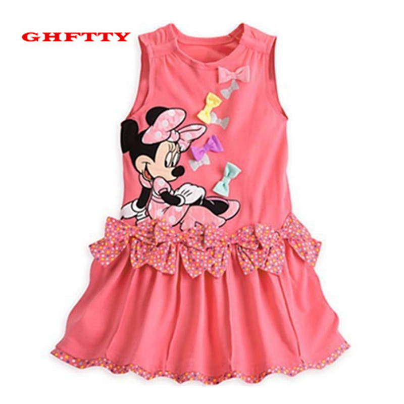 Girls Dress 2017 Summer Casual Style Baby Girl Clothes Sleeveless Cartoon Minnie Mouse Dress For Kids Clothes Bow Dress 3-6 age baby girl summer dress children res minnie mouse sleeveless clothes kids casual cotton casual clothing princess girls dresses page 9