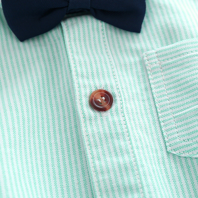 Plain Front Button Shirt with Bow Tie & Flat Front Pleated Shorts