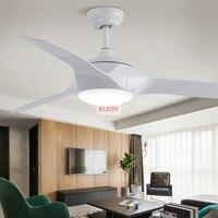 Escurecimento 52 polegada led branco preto ventiladores de teto com luzes controle remoto sala estar quarto casa ventilador luz teto lâmpada|Ventiladores de teto| |  -