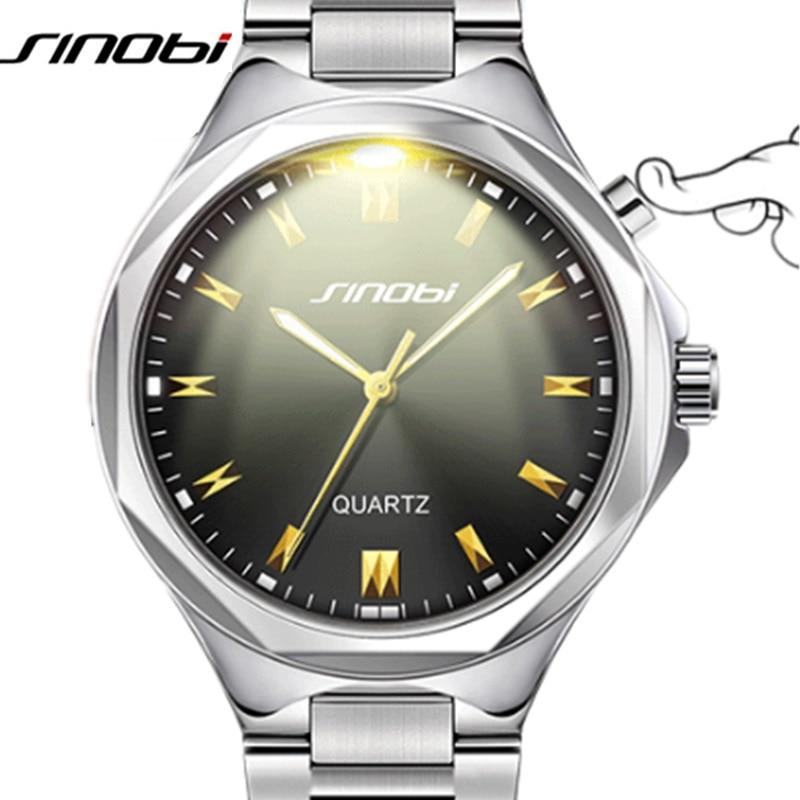 SINOBI Casual Men Wrist Watches of Back Light Stainless Steel Watchband Top Brand Luxury Male Geneva Quartz Clock Meskie Zegarki