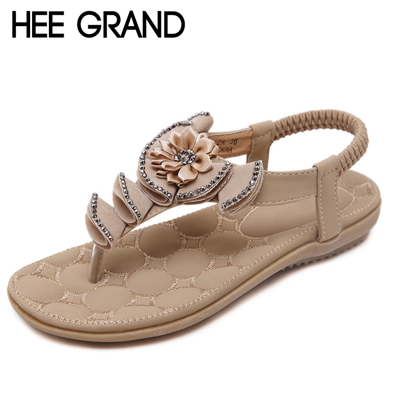 HEE GRAND Flowers Gladiator Sandals 2017 Summer Flip Flops Glitter Casual Platform Shoes Woman Slip On Flats Size 35-41 XWZ3655 phyanic 2017 gladiator sandals gold silver shoes woman summer platform wedges glitters creepers casual women shoes phy3323
