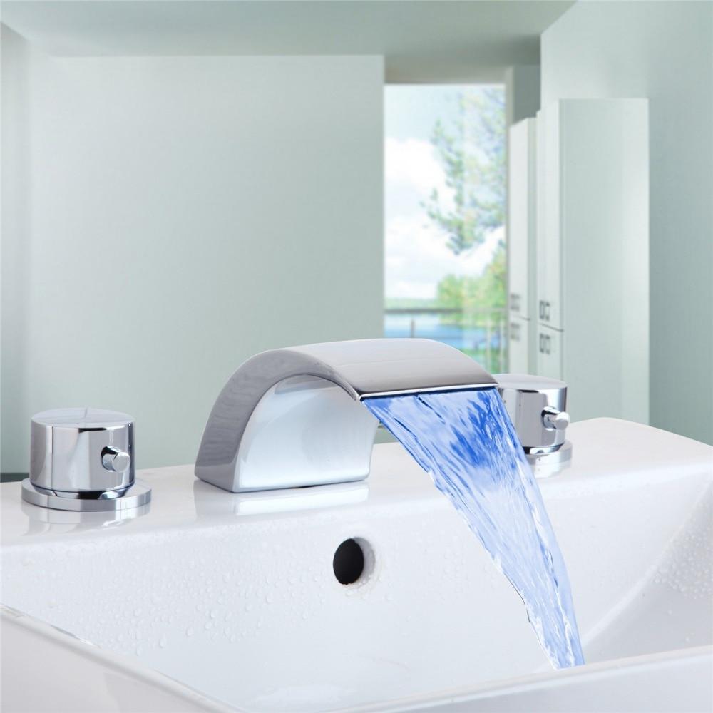 ФОТО Chrome LED 3Pcs widespread Faucet Bathtub Sink Waterfall Spout Mixer Tap Set Bathroom Faucet Sink Mixer Tap