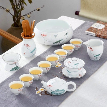 Chinese style Gaiwan Hand-painted Kung Fu Tea Set Jingdezhen Ceramic Cover Bowl Living Room Teapot Teacup Simple Festive Gifts