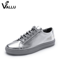 2017 Spring Fashion Silver Genuine Leather Women Flat Shoes Lace Up Casual Comfortable Female Flats