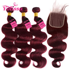Red Burgundy Bundles With Closure 4pcs/lot Brazilian Body Wave Human Hair Bundles 99j 3 Bundles With Closure Yolissa Remy Hair(China)