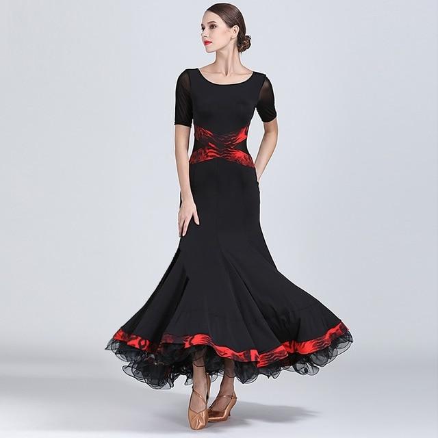 שחור שמלת נשפים אולם נשפים אישה בגדי ריקוד שמלת פלמנקו טנגו ואלס וינאי בנות פרינג ספרדית ללבוש שמלת ריקוד