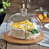 MDZF SWEETHOME Cake tray with Glass Cover Snack Plate Fruit tray Dessert Plate Dim Sum Dish