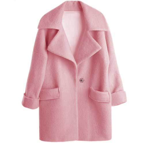 2015 Winter Coat High Quality Women Turn Down Collar Pink Wool ...