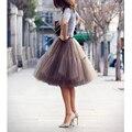 2016 Nueva Manera Del Verano de Múltiples Capas de Gasa de Las Mujeres Falda Elástico de la Cintura del vestido de Bola de Tulle Faldas Faldas Mujer