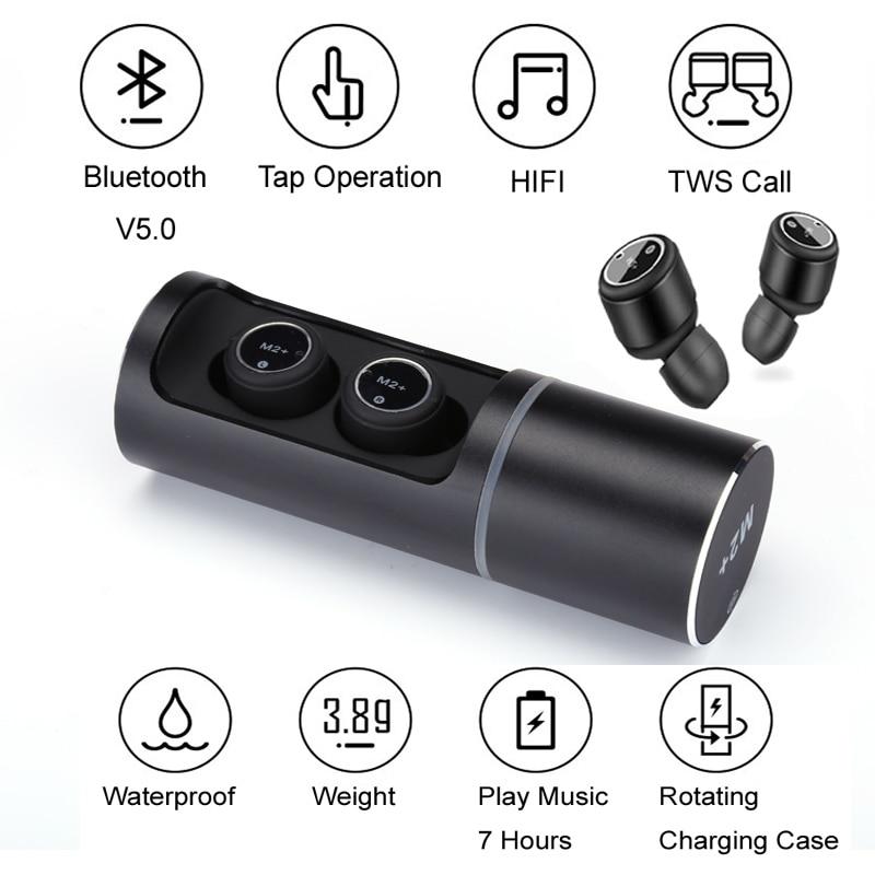 M2 Mini Bluetooth Earbuds Invisible Twins True Wireless 5.0 Bluetooth Headset Stereo headphone sports Bluetooth Earphones