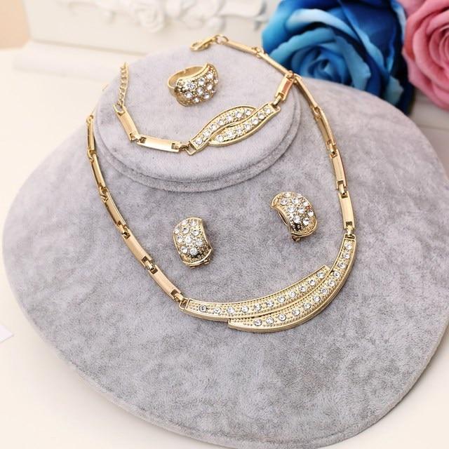 Dubai Gold Nigerian Wedding African Beads Crystal Bridal Jewellery Set 4