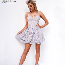 Free Shipping 2017 spring fashion lace stitching back sexy dress
