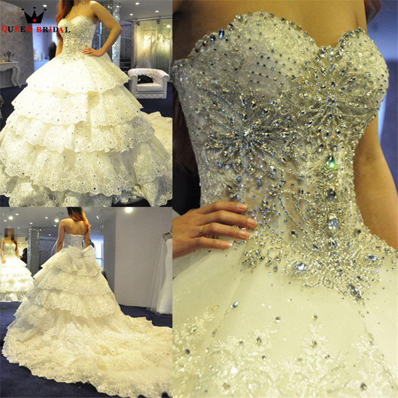 Custom Made Ball Gown Fluffy Sweetheart Crystal Beaded Wedding Dresses Luxury Bridal Gowns Real Photos XJ01