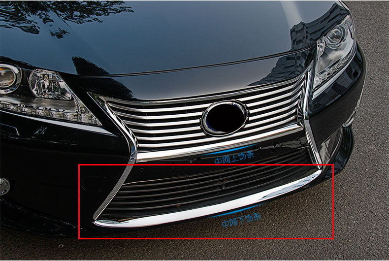 2014 Car styling stainless steel Front Grille Around Trim Racing Grills Trim Light bar For Lexus ES 250 350 300h 1pcs racing grills version aluminum alloy car styling refit grille air intake grid radiator grill for kla k5 2012 14