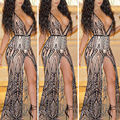 2016 Summer Women Black Tattoo Embroidery Sequin Maxi Dress Sexy Celebrity Floor Length  Long Evening Party Gown Dress Elegant