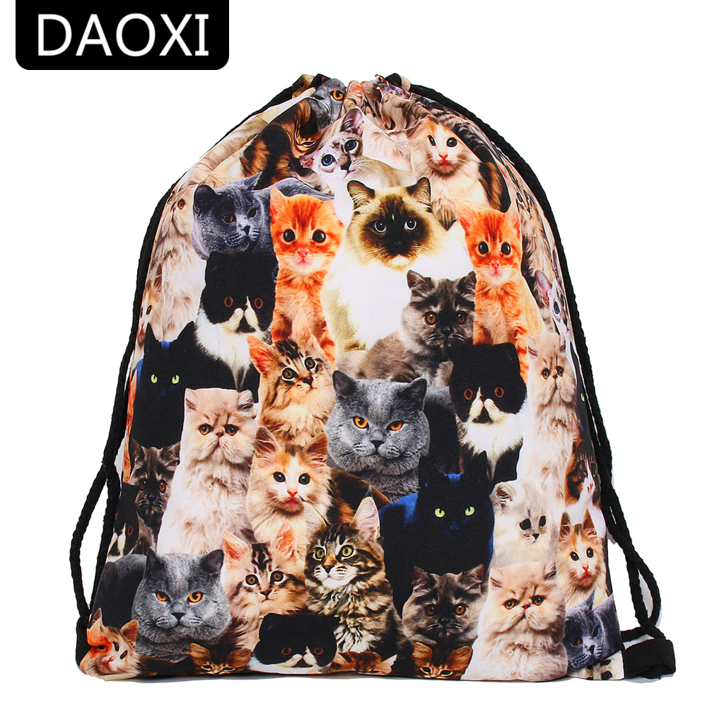 DAOXI 3D Printed Drawstring Bags Animal Pattern Cute Cats Backpacks for Women