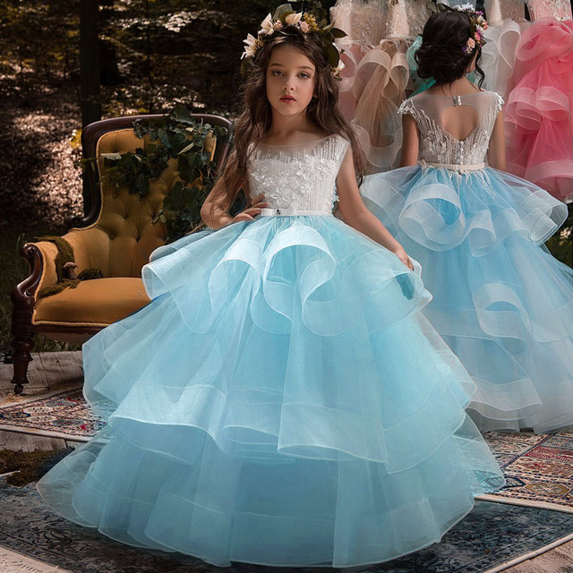 2019 Tulle Lace Infant Toddler Pageant White Flower Girl Dresses for Weddings and Party First Communion Dresses For Girls 1