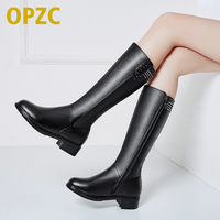 Women Winter Boots. Genuine Leather Female boots .high heeled women long boots. wool lined warm snow boots Lady Fashion shoes