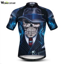 цена на Weimostar 3D Skull Cycling Jersey Men Summer Short Sleeve Mountain Bike Clothing Maillot Ciclismo Quick Dry MTB Bicycle Jersey