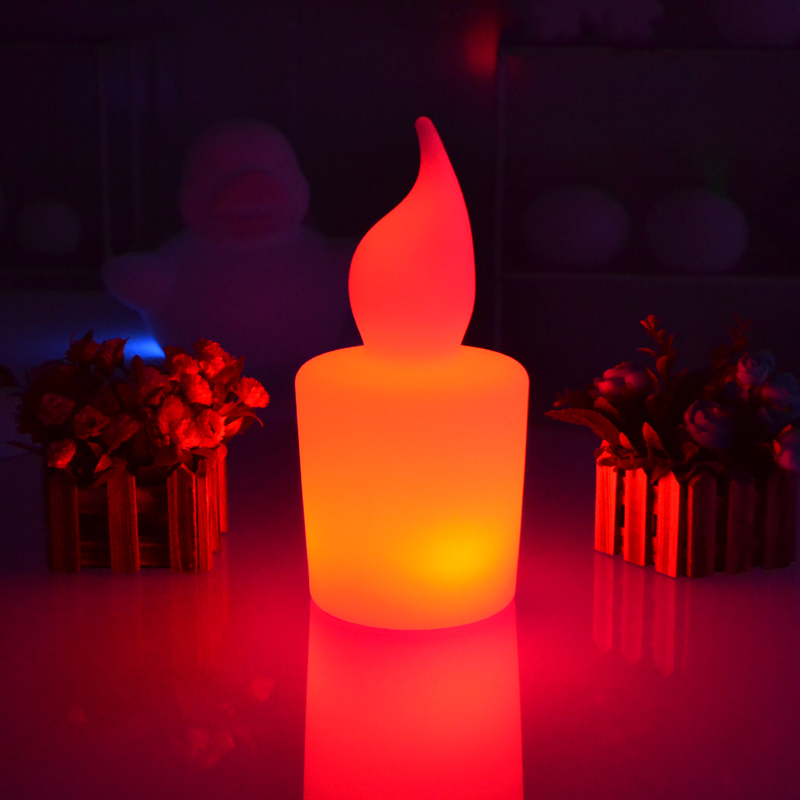 Waterproof illuminated Big colorful LED candle light height 28cm 110 220V Rechargeable flash candle lamp with remote controller in LED Night Lights from Lights Lighting