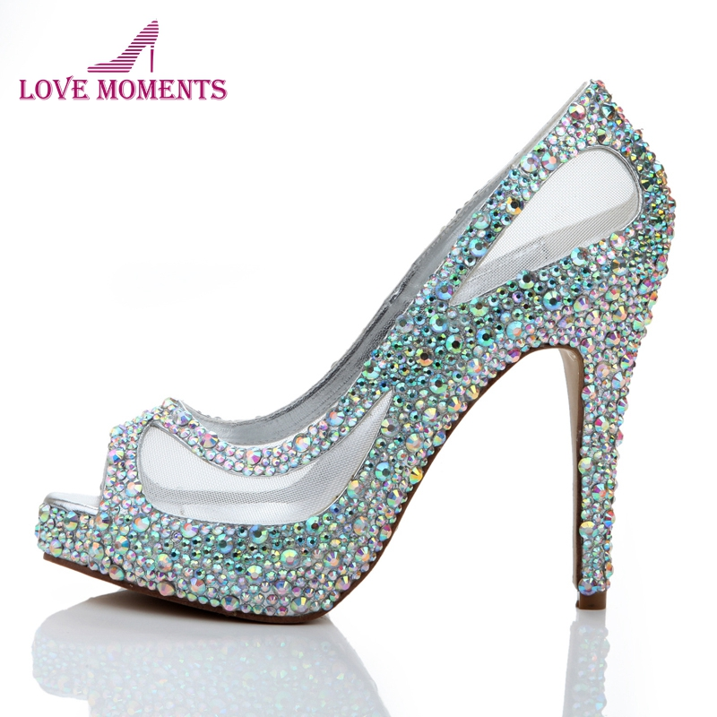 Spring Summer New Arrival Women High Heels Rhinestone Glitter AB Color Crystal Bridal Shoes Peep Toe Mesh Lace Wedding ShoesSpring Summer New Arrival Women High Heels Rhinestone Glitter AB Color Crystal Bridal Shoes Peep Toe Mesh Lace Wedding Shoes