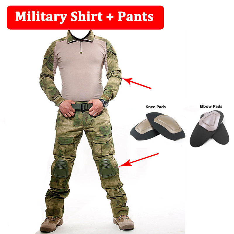 Military Shirt + Pants With Knee And Elbow Pads Outdoor Airsoft Paintball Men Tactical Uniform Hunting Clothes 10 Colors black tactical bdu uniform field shirt and pants clothes for hunting and finshing men outdoor paintball military wargame suit