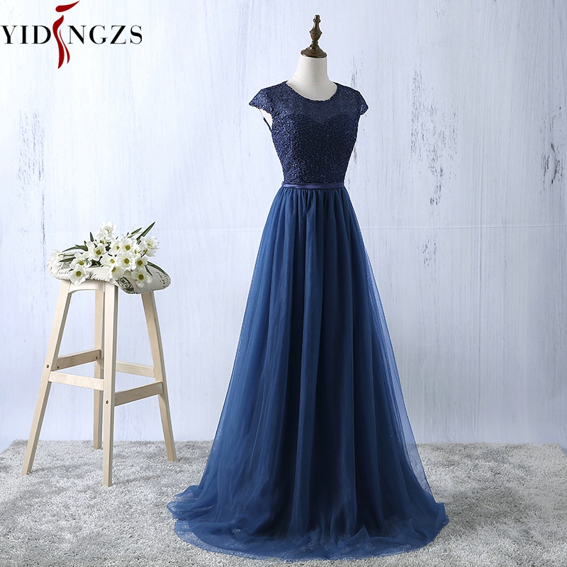 YIDINGZS Navy Blue Prom Dress 2019 New Arrive Lace Tulle A line Formal Long Evening Party