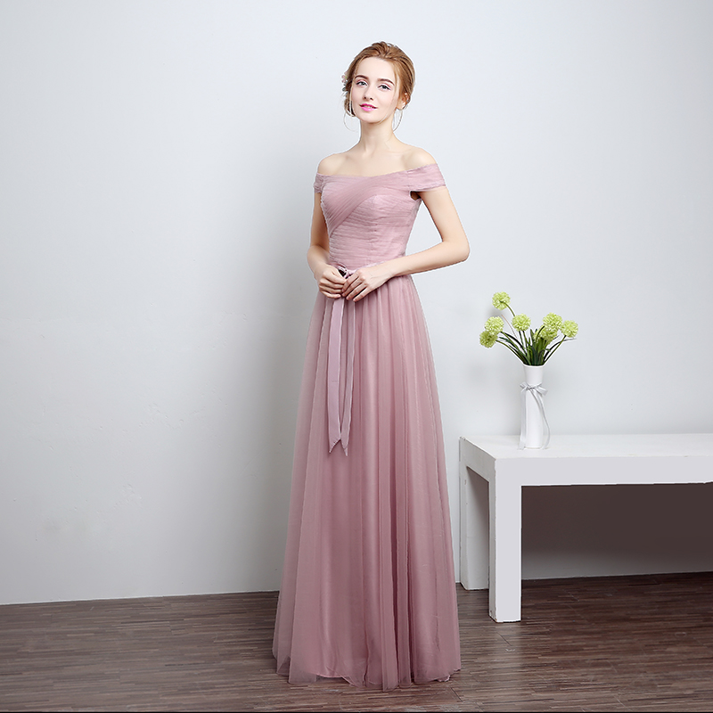 ruthshen 2018 New Bridesmaid Dresses Long Off Shoulder Pleated Pink   Silver  Tulle Brides Maid Wedding Party Dress Cheap-in Bridesmaid Dresses from  Weddings ... c1eb9bac977c