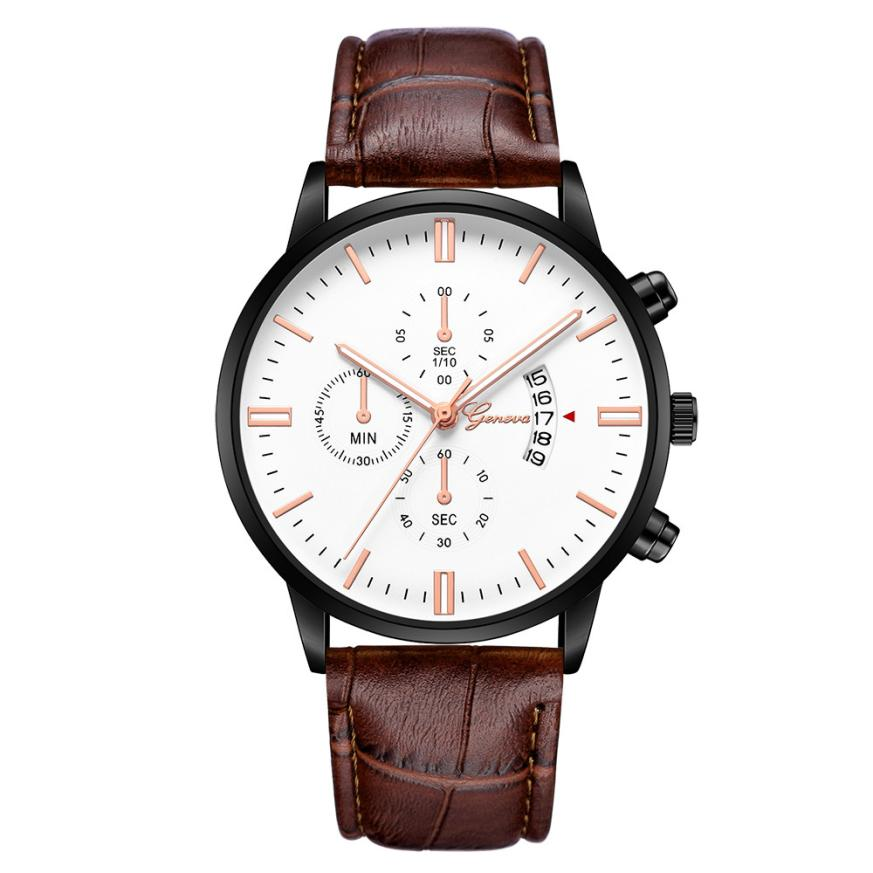 Geneva Watches Mens Watch 2018 Luxry Date Stainless Steel Leather Analog Alloy Quartz Wrist Male Watch relogio masculino A0