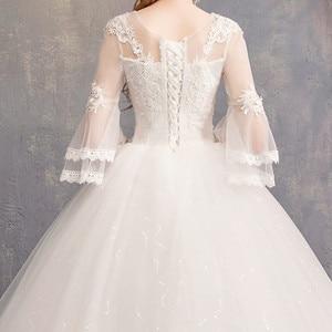 Image 5 - Nuovo Disegno di Vendita Caldo Classico Semplice Bianco Viory Abiti di Sfera Noiva Casamento Moda Robe De Mariage Sette Sleeve Custom Made