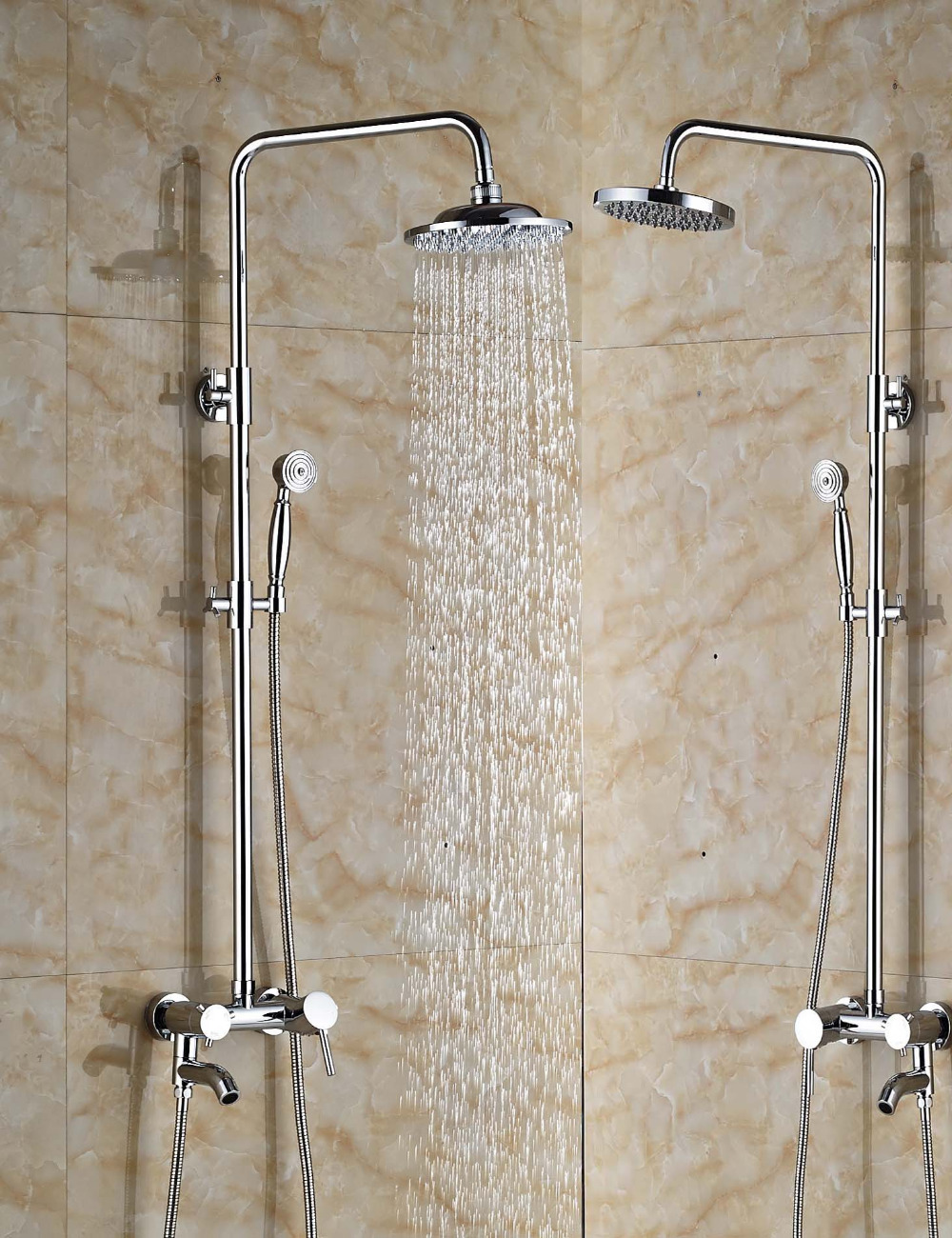 Wholesale And Retail Luxury Wall Mounted Chrome Finish Round Rain Shower Head Valve Mixer Tap Swivel Spout W/ Hand Shower